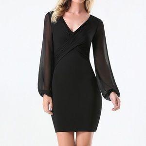 Bebe Black Sheer Sleeve Dress